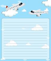 Plantilla de papel con dos aviones volando
