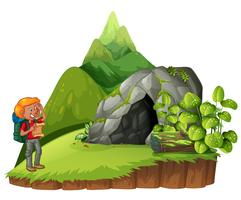 Hiker hiking up the mountain vector
