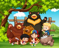 Children and wild bears together