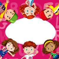 Gränsmall med barn från olika länder