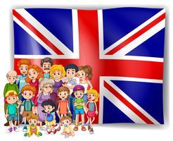 Bandiera dell'Inghilterra e la loro gente