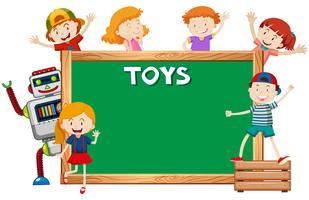 Modello di cornice con bambini e robot