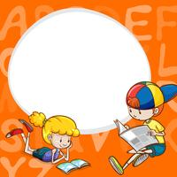 Modello di confine con due bambini che leggono libri