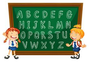 English alphabets on greenboard