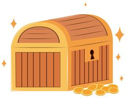 Wooden chest and gold coins