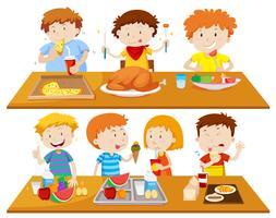 Pessoas comendo diferentes tipos de comida