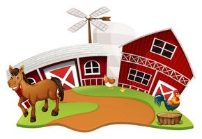 Farm scene with farm animals