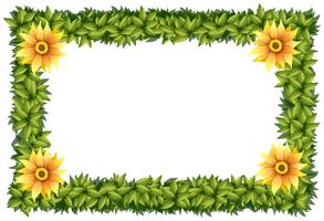 Frame template with flowers and leaves