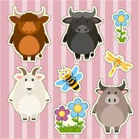Sticker set with farm animals