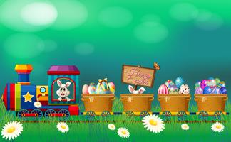 Easter eggs and bunny in the train