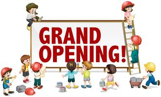 Sinal de inauguração com crianças a construção do tabuleiro