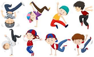 Pojkar gör olika dansåtgärder