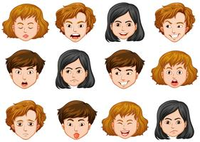 Human faces with different emotions vector