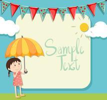 Border design with girl and umbrella