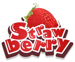 Font design with word strawberry