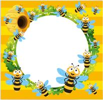 Border template with many bees flying
