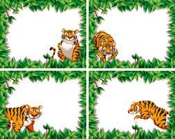 Set of tiger leaf frames vector