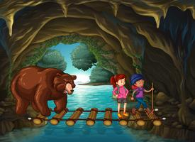 Hikers and bear in the cave vector