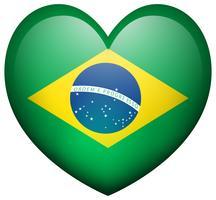 Vlag van Brazilië in hartvorm