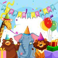 Animal selvagem no modelo de aniversário
