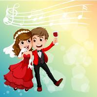 Bröllopspar firar med musikanteckningar i bakgrunden