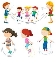 Boys and girls jumping rope