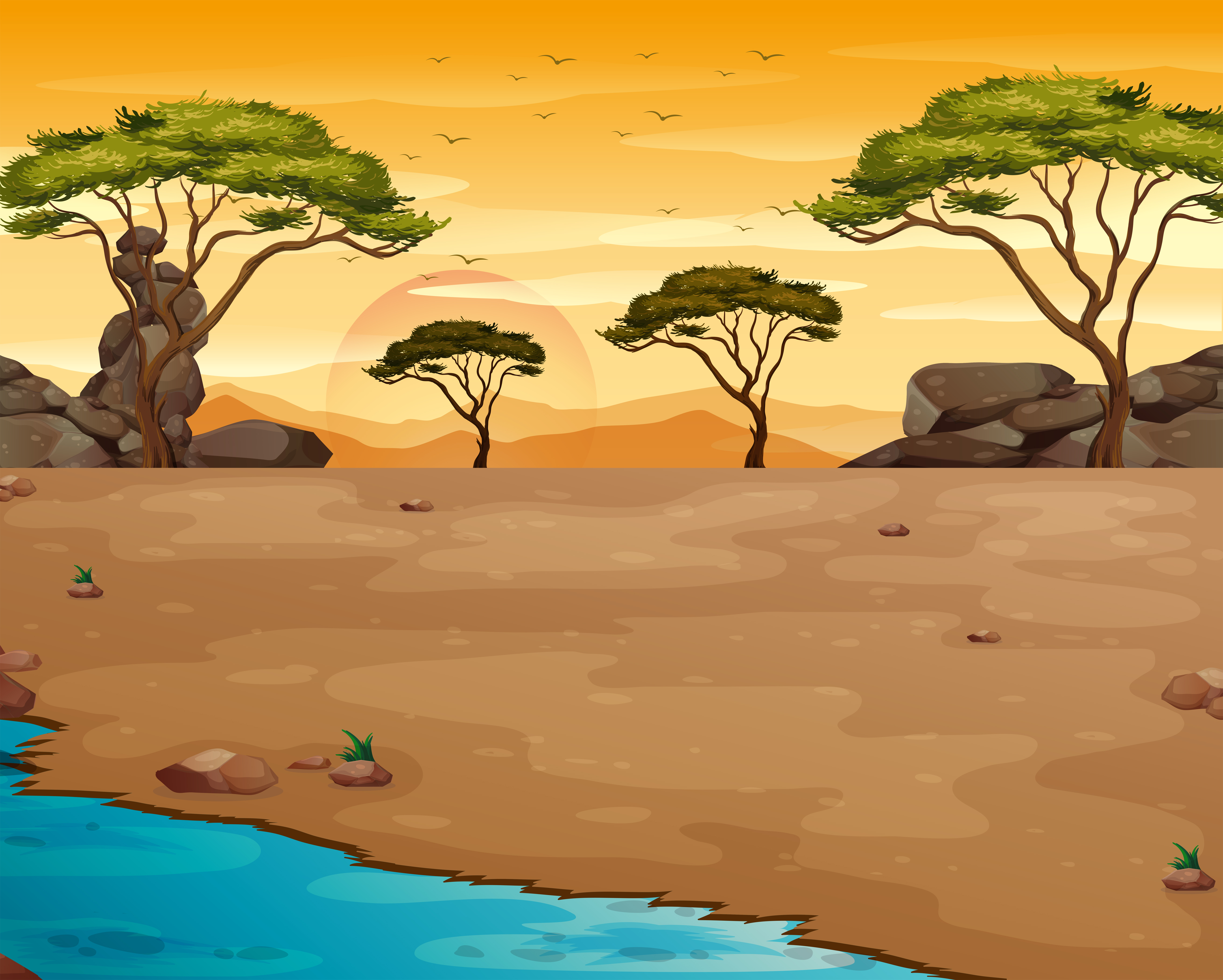 Fototapete Afrika Sonnenuntergang Gitaffe Orange Strasse Savanne Baum Sonne Himm