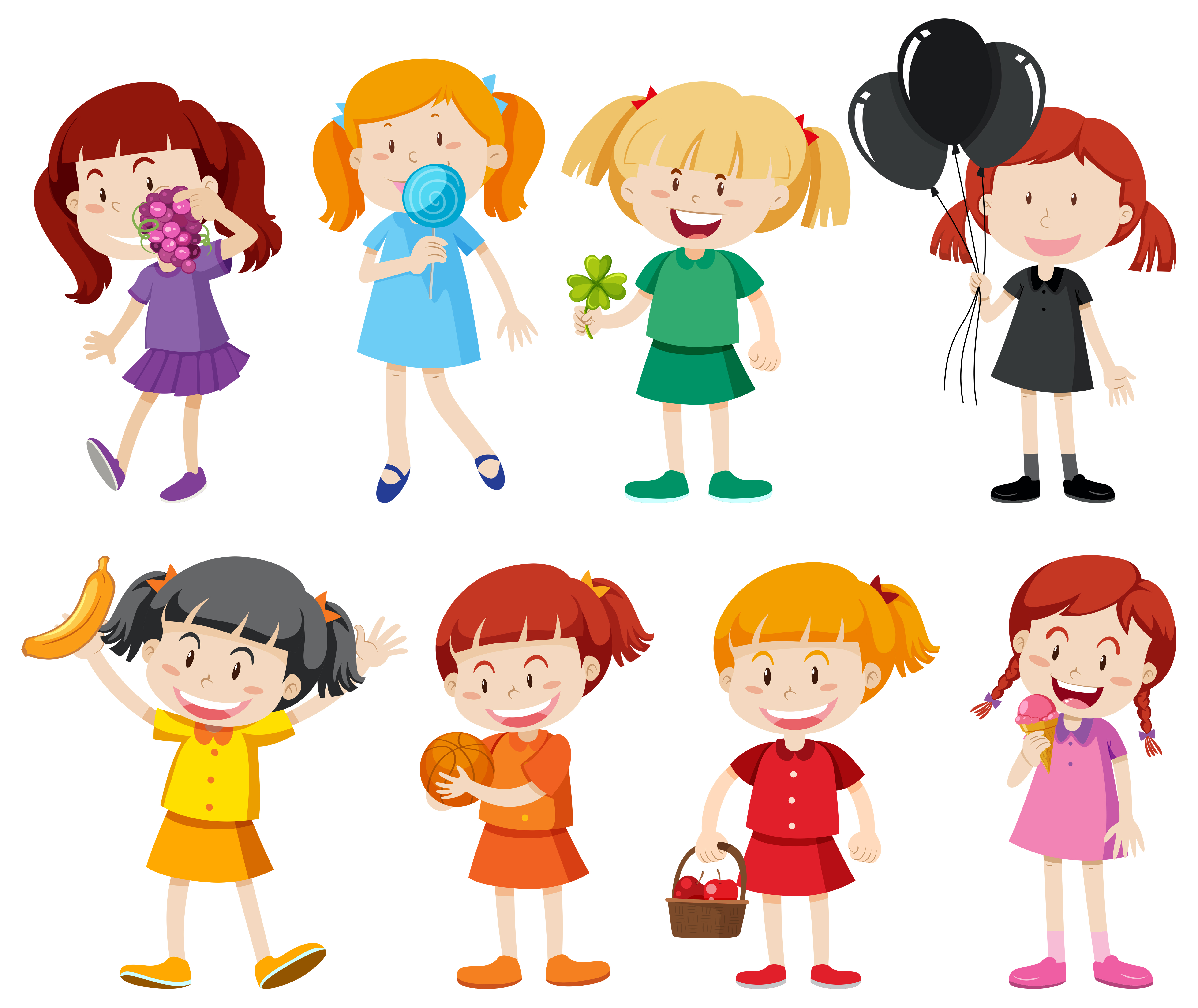 3860b1f2b069 Chicas en camisetas de diferentes colores. - Descargue Gráficos y Vectores  Gratis