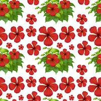 Seamless background with red hibiscus flowers vector