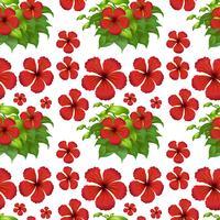 Fondo transparente con flores de hibisco rojo vector