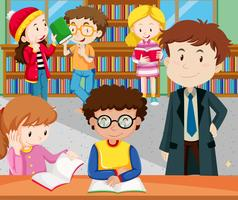 Alunos lendo e estudando na biblioteca