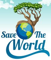 Save the world poster with earth and tree