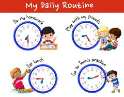 Rotina diária de muitas crianças com relógios