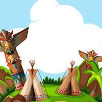 Hintergrundszene mit traditionellen Zelten und Totempfählen