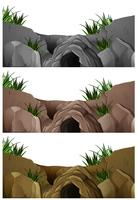 Tre scene di grotte nella montagna rocciosa
