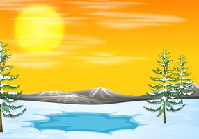 Snow scene at sunset