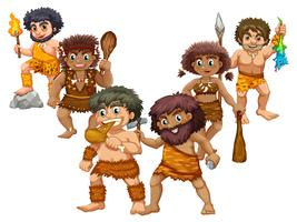 Cavemen in different positions