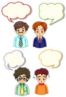 Four men and speech bubbles