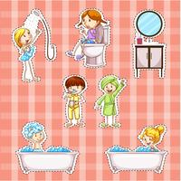 Sticker design with kids doing things in bathroom