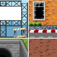 Set of different industrial scenes