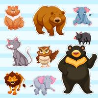 Sticker set for cute animals on blue background