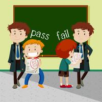 Opposite words for pass and fail vector
