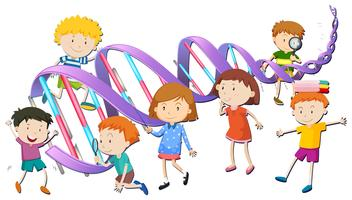 Boys and girls with DNA model