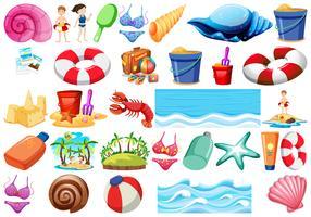 Set di oggetti da spiaggia