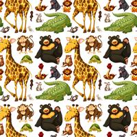Seamless background with wild animals
