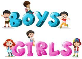 Mot design avec mot garçons et filles
