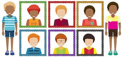 Jongens met gezichtsloze in frame