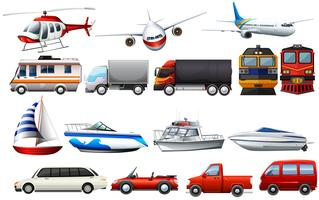 Different types of transportations vector