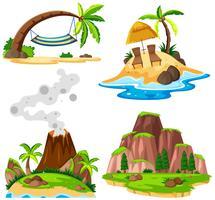 Cuatro escenas de isla y playa.