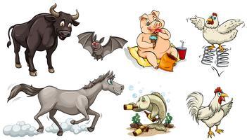 Différents types d'animaux faisant des choses différentes